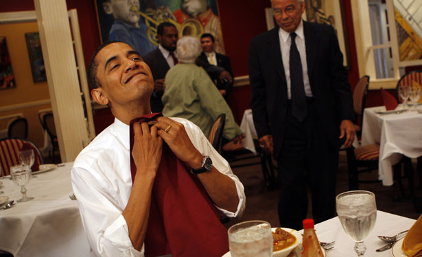 US Democratic presidential candidate Senator Barack Obama (D-IL) prepares to eat as he visits the Dooky Chase restaurant in New Orleans